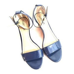 Ellen Tracy Strappy Patent Wedge Blue 7